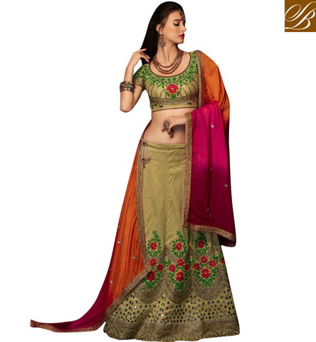 STYLISH BAZAAR BEWITCHING BEIGE ART SILK PARTY WEAR DESIGNER HAVING MIRROR WORK LEHENGA CHOLI CHRT107