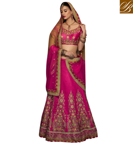 STYLISH BAZAAR ATTRACTIVE PINK ART SILK HAVING CUTEST EMBROIDERY WITH PARTY WEAR LEHENGA CHOLI CHRT108