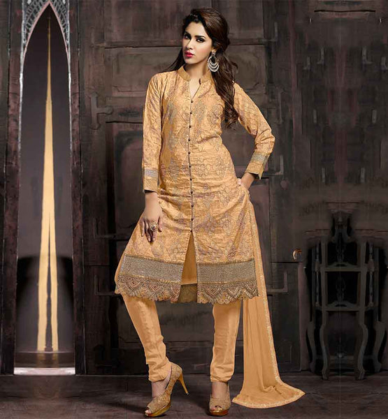 DESIGN OF SALWAR KAMEEZ WITH RICH EMBROIDERY WORK AWESOME CREAM TOP WITH COMFORTABLE PURE COTTON SALWAR AND NAZNEEN DUPATTA