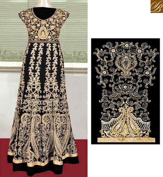 WONDERFUL BLACK GEORGETTE DESIGNER ANARKALI SAKWAR KAMEEZ WITH HEAVY EMBROIDERED KHFS0285