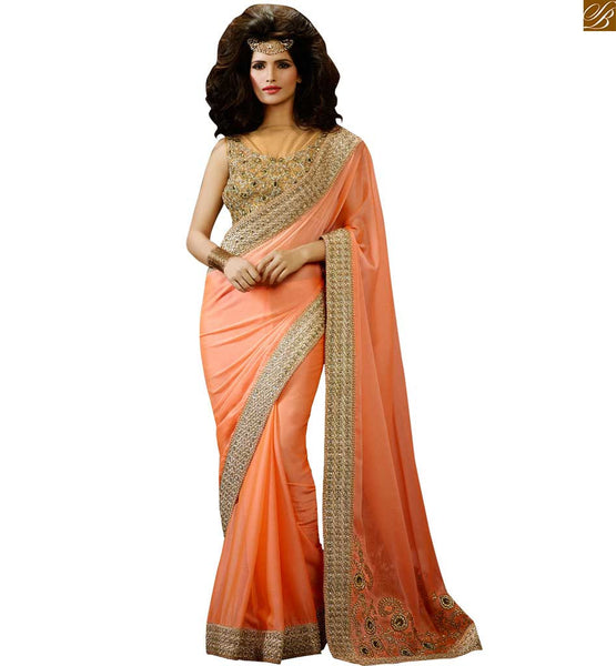 DESIGNER PEACH COLORED PARTY WEAR SAREE BY STYLISH BAZAAR RTHYC9404