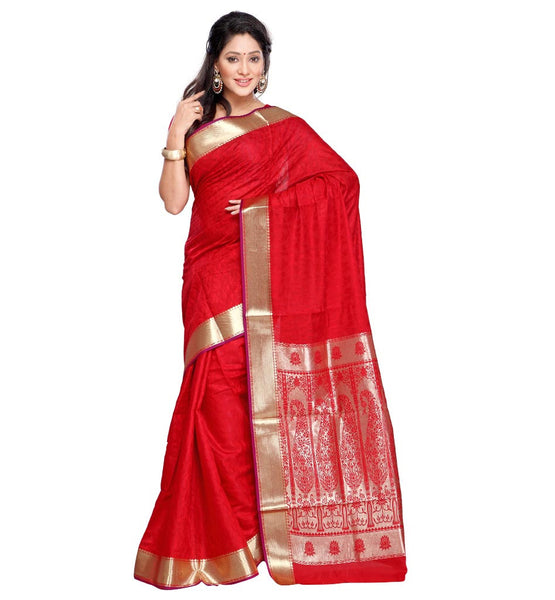 STYLISH BAZAAR  HIGHLY ADMIRED BANARASI SILK SAREE WITH PAISLEY PALLU VWDM8110RD