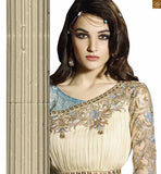 Cream-Grey and georgette-net beautiful zari and floral embroidered stylish salwar kameez