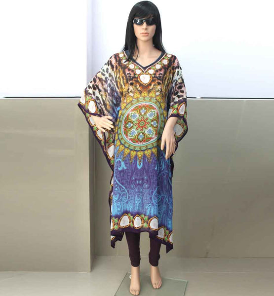 WOMEN'S LONG MAXI KAFTAN SHOPPING INDIA EXCELLENT DIGITAL PRINT QUALITY