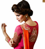 STUNNING MIX OF PINK AND ORANGE SARI TEAMED WITH PINK BLOUSE RTHYC9402 FROM THE HOUSE OF STYLISH BAZAAR