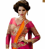 STYLISH BAZAAR STUNNING MIX OF PINK AND ORANGE SAREE TEAMED WITH PINK BLOUSE RTHYC9402