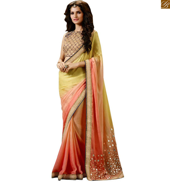 STYLISH BAZAAR PINK AND CREAM SHADED DESIGNER SARI FOR PARTY WEAR COLLECTION RTHYC9400C