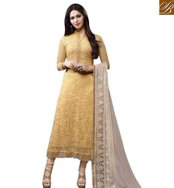 STYLISH BAZAAR STYLISH MUSTARD COLORED DESIGNER SALWAR KAMMEZ EKT1704