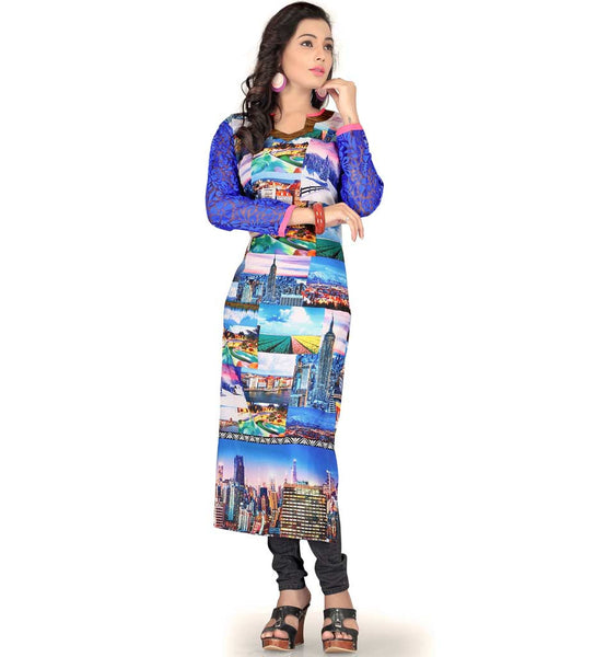 FASHIONISTA HD CITYSCAPE DIGITAL PRINT GEORGETTE KNEE HEIGHT KURTI