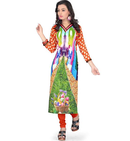 ABSTRACT THEME HD URBAN GEORGETTE DIGITAL PRINT LATEST FASHION KURTI