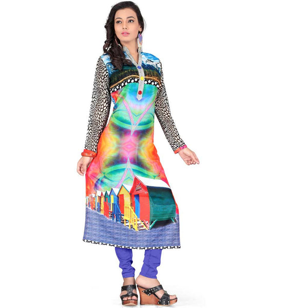 GEORGETTE LONG KURTI WITH HD DIGITAL PRINT TO WEAR WITH LEGGINGS