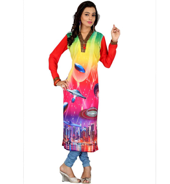 MODERN PAINTING STYLE DIGITAL PRINT URBAN GEORGETTE INDIAN KURTI