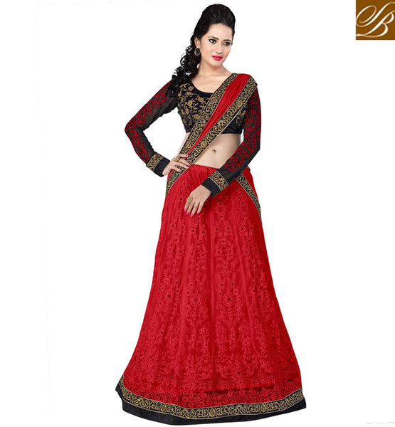 RED & BLACK ANARKALI OR LEHENGA FUSION SUIT WITH NAZNEEN DUPATTA