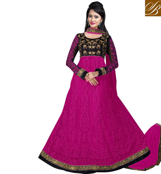 PINK & BLACK ANARKALI OR LEHENGA FUSION SUIT WITH NAZNEEN DUPATTA