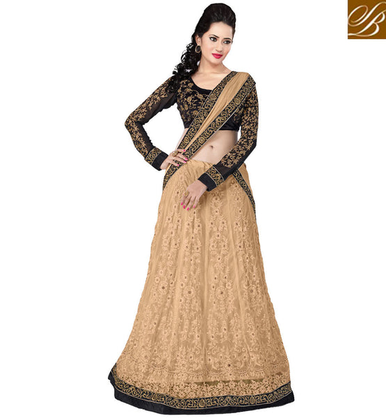 BEIGE & BLACK ANARKALI OR LEHENGA FUSION SUIT WITH NAZNEEN DUPATTA