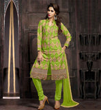 FASHION SALWAR KAMEEZ MADE FROM PURE COTTON FABRIC BOLD COLOR PARROT GREEN PURE COTTON SUIT WITH MATCHING SALWAR AND DUPATTA
