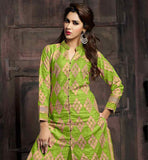 BOLD COLOR PARROT GREEN PURE COTTON SUIT WITH MATCHING SALWAR AND DUPATTA LACE BORDER NAZNEEN ODHNI ADDS GLAMOUR TO THIS HEAVILY EMBELLISHED DRESS
