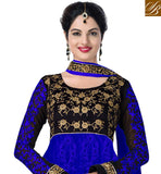 BLUE & BLACK ANARKALI OR LEHENGA FUSION SUIT WITH NAZNEEN DUPATTA