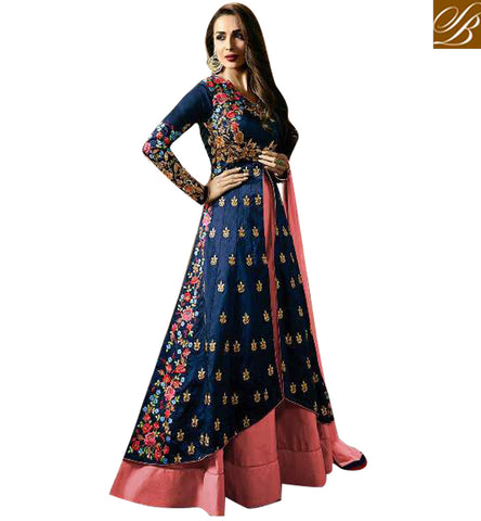 stylish bazaar Shop dark blue long kameez & pink Fiona Malaika Arora Khan salwaar suit FIMAK21191