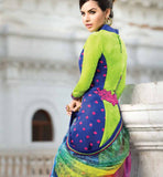 FLORAL JINAAM BAHNI 2 BLUE GREEEN COTTON 9017