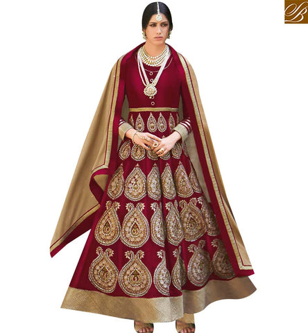 STYLISH BAZAAR BEAUTIFUL MAROON VELVET HAVING EYE CATCHING EMBROIDERED ANARKALI SUIT FLCE7298B