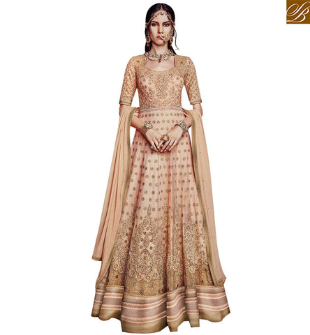 STYLISH BAZAAR SIZZLING PEACH NET WELL DECORATED PARTY WEAR ANARKALI SALWAR KAMEEZ FLCE7380