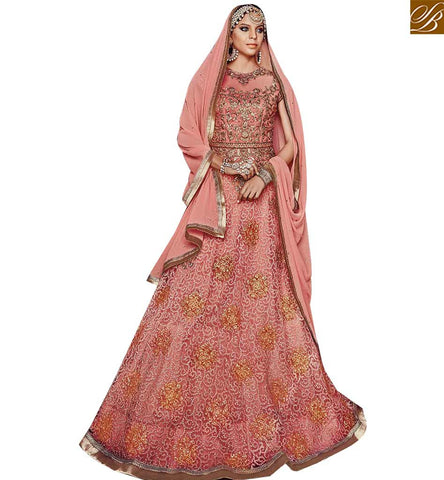 STYLISH BAZAAR BREATHE TAKING PEACH NET PARTY WEAR FLOOR LENGTH ANARKALI SALWAR SUIT FLCE7381