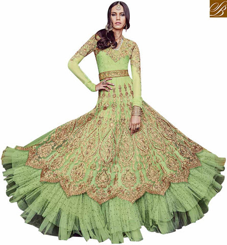 STYLISH BAZAAR UNBELIEVABLE GREEN NET HAVING WELL DESIGNED PARTY WEAR DRESS FLCE7382