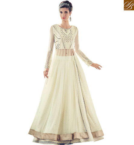 STYLISH BAZAAR INVITING OFF WHITE NET GEORGETTE PARTY WEAR GHAGHRA STYLE SUIT FLCE7384