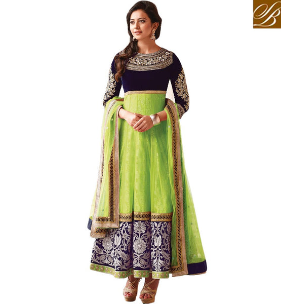 GREEN NET RAKUL PREET SINGH ANARKALI DRESS FLRP7288B