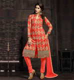 INDIAN SALWAR KAMEEZ NECK DESIGNS FOR WOMEN PEACH PURE COTTON KAMEEZ WITH MATCHING BOTTOM AND NAZNEEN HJIAAB