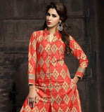 PEACH PURE COTTON KAMEEZ WITH MATCHING BOTTOM AND NAZNEEN HJIAAB GOOD LOOKING ALL OVER EMBROIDERY WORK IS DONE ON THIS COMFORTABLE TOP