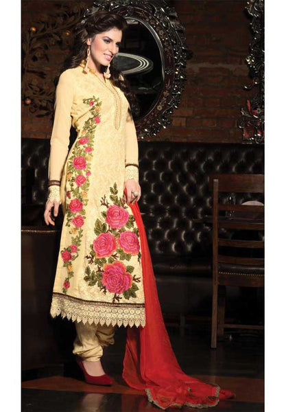 yellow flower embroidery salwar suit