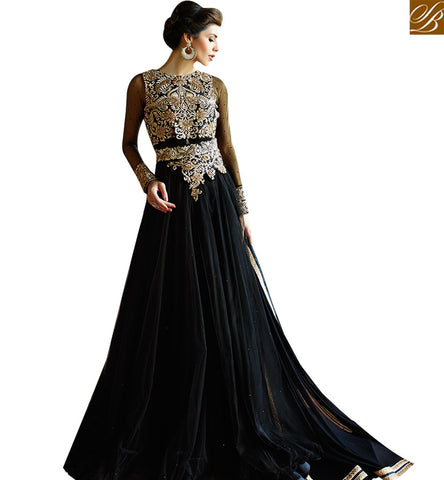 STYLISH BAZAAR AMAZING DESIGNER BLACK COLORED SUIT WITH ATTRACTIVE EMBROIDERED WORK GLMAK1204