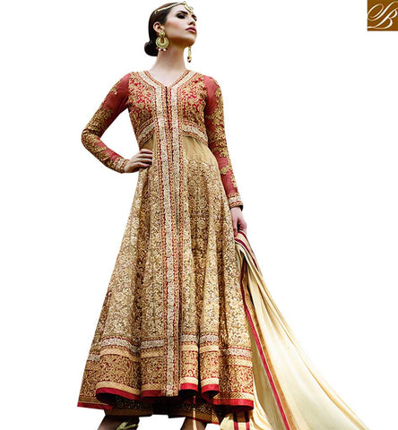 STYLISH BAZAAR APPEALING RED & BEIGE COLORED DESIGNER ANARKALI SUIT GLMAK1205