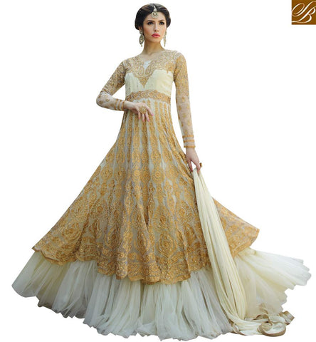 STYLISH BAZAAR ADMIRABLE CREAM COLORED FESTIVAL WEAR ANARKALI SUIT GLMAK1206