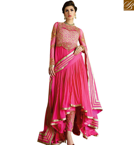 STYLISH BAZAAR GORGEOUS PINK COLORED DESIGNER FROCK STYLE SUIT GLMAK1207