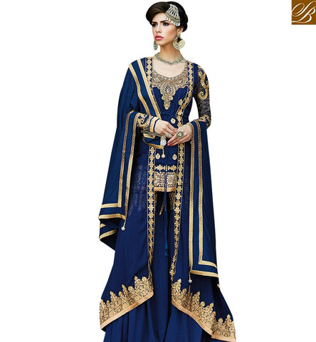 STYLISH BAZAAR FASCINATING DARK BLUE COLORED JACKET STYLE DESIGNER SUIT GLMAK1208