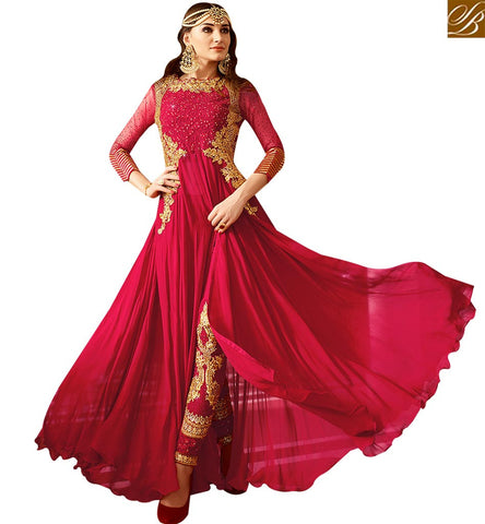 STYLISH BAZAAR GLORIOUS RED GEORGETTE DESIGNER SALWAR SUIT CONTAIN EMBROIDERY AND DIAMOND WORK WITH SLIT CUT GLRHY7101