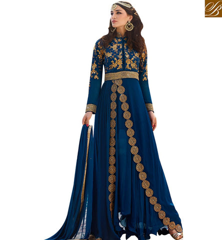 STYLISH BAZAAR ELEGANT BLUE GEORGETTE HAVING WELL EMBROIDERY WORK DESIGNER DRESS WITH BAND NECK GLRHY7102