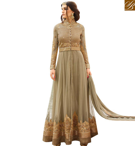 STYLISH BAZAAR GRACEFUL BEIGE NET GEORGETTE DESIGNER ANARKALI SALWAR SUIT WITH EMBROIDERY AND DIAMOND WORK GLRHY7103