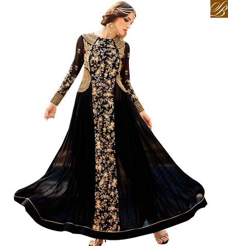 STYLISH BAZAAR SHOP ONLINE BLACK GEORGETTE DESIGNER ANARKALI SALWAR KAMEEZ HAVING ELEGANT EMBROIDERY GLRHY7104