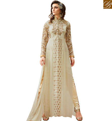 STYLISH BAZAAR BUY INDIAN TRADITIONAL CREAM GEORGETTE DESIGNER SUIT HAVING ENCHANTING EMBROIDERY WITH DIAMOND GLRHY7105