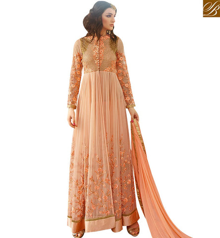 STYLISH BAZAAR AMAZING PEACH GEORGETTE DESIGNER ANARKALI SALWAR KAMEEZ WITH HEAVY EMBROIDERY WORK GLRHY7106