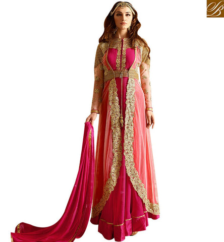 STYLISH BAZAAR DELIGHTFUL PINK GEORGETTE HEAVY EMBROIDERED ANARKALI SALWAR KAMEEZ WITH JACKET STYLE GLRHY7107