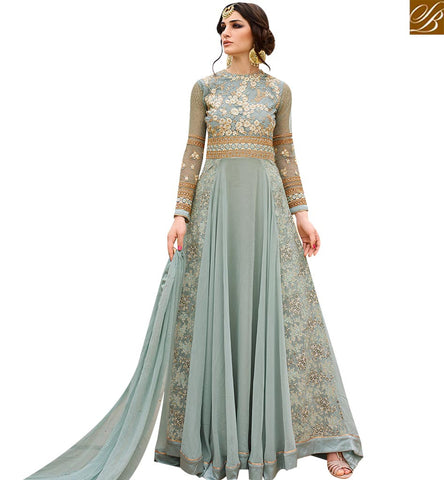 STYLISH BAZAAR ATTRACTIVE SEA BLUE DESIGNER ANARKALI SALWAR KAMEEZ WITH EMBROIDERY AND DIAMOND WORK GLRHY7108