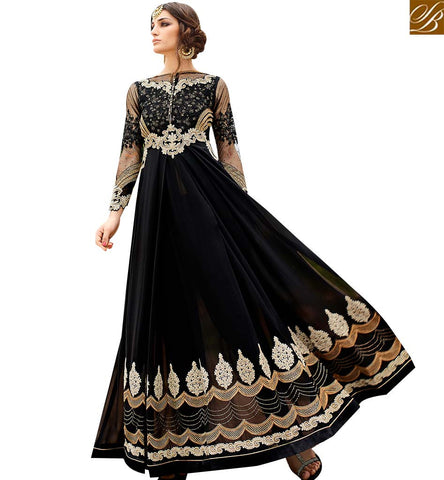 STYLISH BAZAAR INVITING BLACK GEORGETTE ANARKALI SALWAR KAMEEZ WITH EMBROIDERY DIAMOND AND BORDER WORK GLRHY7109