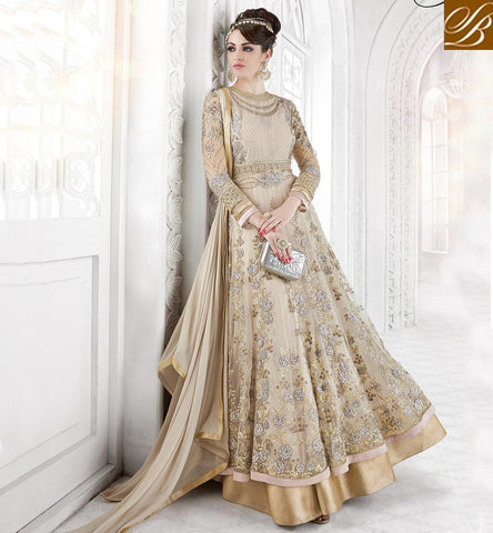 STYLISH BAZAAR Beige designer Indian anarkali salwaar suit for women online in India GLSPH7209