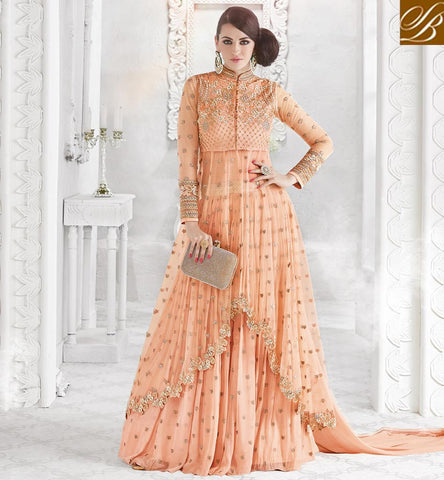 STYLISH BAZAAR Peach glossy anarkali style lehnga choli women online eid collection GLSPH7210