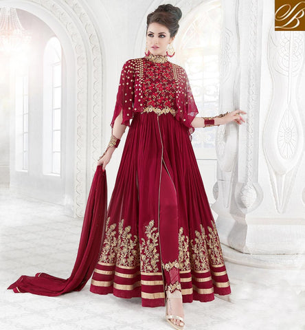 STYLISH BAZAAR Designer Georgette glossy sapphire anarkali latest Indian couture dresses GLSPH7211